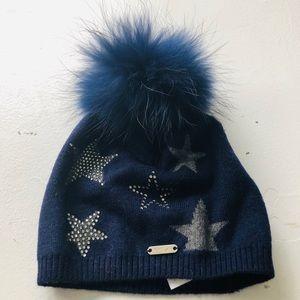 BARI LYNN**Navy Hat w/ Gray Stars and Navy Pom Pom